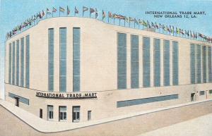 New Orleans Louisiana~Flags Over Art Deco International Trade Mart~1940s