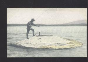 YELLOWSTONE NATIONAL PARK WYOMING HOT SPRINGS FISHING VINTAGE POSTCARD