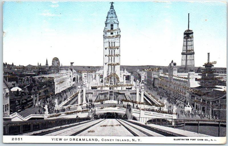 CONEY ISLAND New York City Postcard View of DREAMLAND Amusement Park c1900s