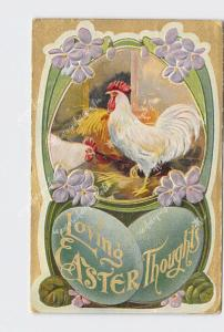 PPC POSTCARD LOVING EASTER THOUGHTS ROOSTERS WITH ART NOUVEAU FLOWER BORDER EMBO