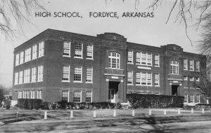 G77/ Fordyce Arkansas RPPC Postcard c50s High School Building