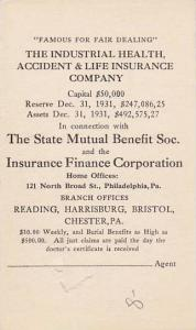 Trade Card, The Industrial Health, Accident & Life Insurance Company, King at...