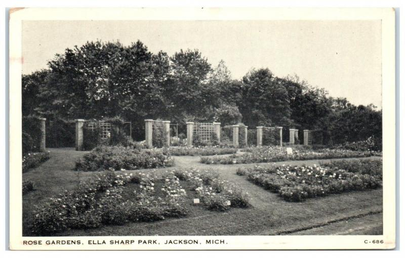Vintage Ella Sharp Park, Rose Gardens, Jackson, MI Postcard