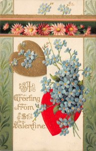 LP31 Valentine's Day Postcard Winsch Publisher Big Hearts Blue flowers