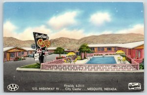 Mesquite Nevada~Desert Palms Motel~Best Western Roadside~c1950 Linen Postcard