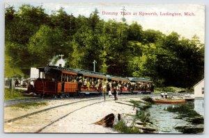 Ludington & Northern Dummy Train Passes Station Full of Passengers~Michigan PC