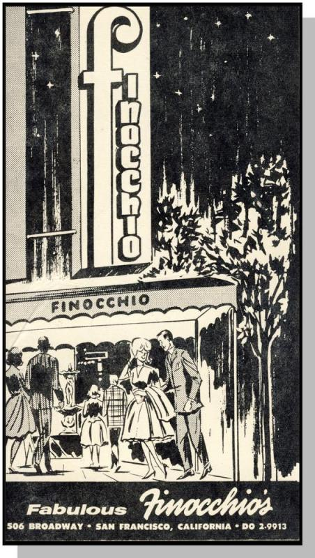 Finocchio's Menu,San Francisco,Calif/CA,Female Impersonators