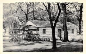 Gothenburg Nebraska~Original Pony Express Station & Old Fire Engine~1951 Pc