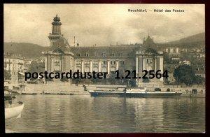 2564 - SWITZERLAND Neuchatel Postcard 1909 Hotel des Postes. Post Office