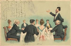 Happy New Year - vintage postcard Diner 02.52