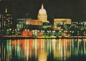 Wisconsin Madison Sky Line Over Lake Monona By Night