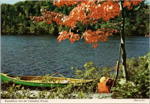 'Expedition In The Canadian Woods' Canoe Shotgun Canada Postcard D55 *As Is