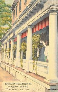 1940s Hotel Humes-Mercer Pennsylvania MWM postcard 9460