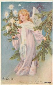 Artist impression 1906 Christmas Angel Candles Tree undivided postcard 11560