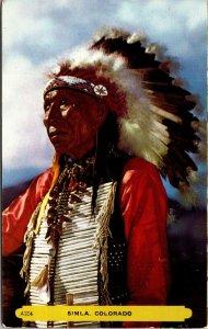 SIMLA, COLORADO Native American Indian Color POSTCARD Rembrant UNPOSTED