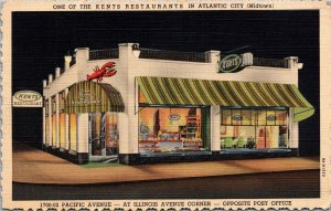 Postcard NJ New Jersey Atlantic City Boardwalk Kents Restaurant Unposted