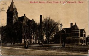 Marysville Kansas~Marshall County Court House & Jail~Victorian Ladies~1913 PC