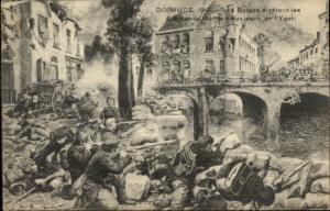 WWI 1914 Dixmude Belgians in Battle Yser Postcard