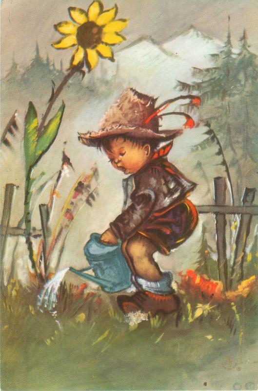 Alfred Mainzer Postcard Little Boy Watering Sunflower, Little Folks 674