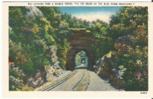 Looking Thru A Double Tunnel In The Heart of The Blue Ridge Mountains Postcard
