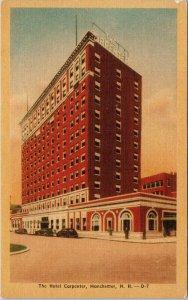 Hotel Carpenter Manchester NH Unused Vintage Linen Postcard F31