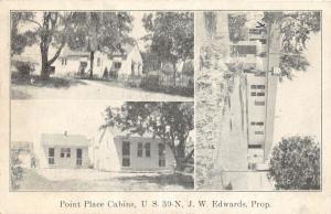 F16/ Gomer Ohio Postcard 1942 Point Place Cabins Roadside