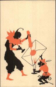Jester Clown & Monkey Seal Envelope w/ Wax Candle Art Deco MILTON SHADOW pc