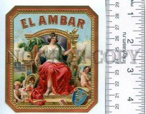 500110 EL AMBAR Vintage embossed cigar box label