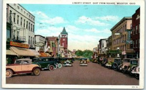 Wooster, Ohio Postcard LIBERTY STREET, East From Square Downtown 1931 Cancel