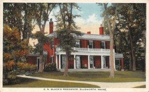 LPS61 Ellsworth Maine G. N. Black's Residence Vintage Postcard
