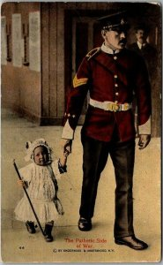1916 WORLD WAR I WWI Postcard Soldier & Small Child The Pathetic Side of War