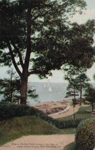 New York New Rochelle View In Hudson Park Through Echo Bay To Long Island Sou...