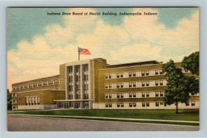 Indianapolis IN-Indiana, Indiana State Board of Health Building, Linen Postcard