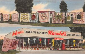 F33/ South Folkston Georgia Postcard Linen 2View Harold's Chenille & Gift Store