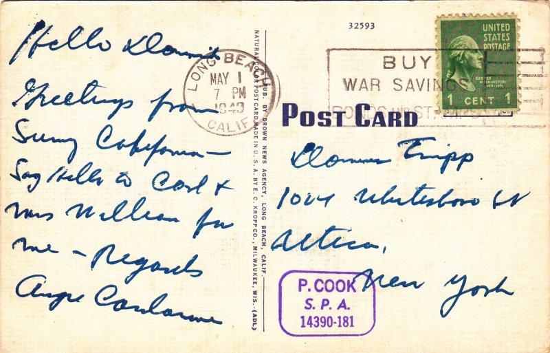 P1685 1949 used postcard civic buildings & farmers market long beach calif
