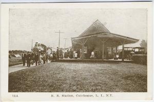 Cutchogue Long Island NY Railroad Station Train Depot Postcard