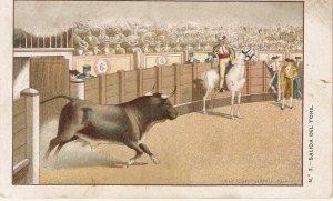 Bullfighting. Salaida del Toril Old vintagemSpanish postcard