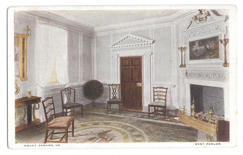 VA Mount Vernon West Parlor George Washingtons Home Vtg MVA 1920 Postcard