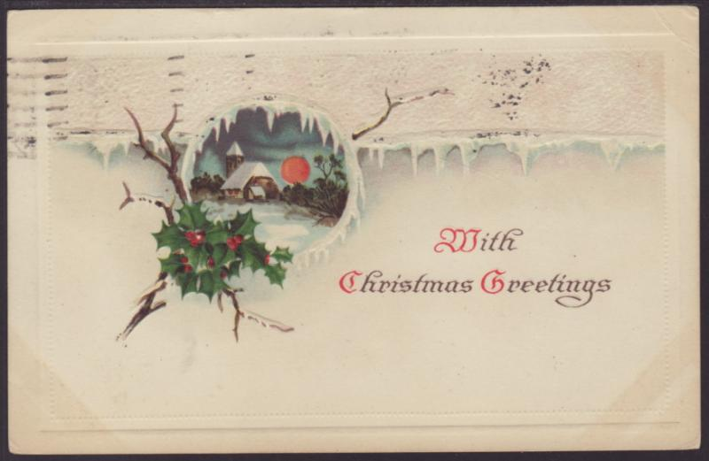 With Christmas Greetings,Scene,Holly Postcard BIN