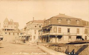 Stonington ME Dirt Street View Store Fronts Central Square K. of P. RP Postcard