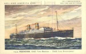 TSS Veendam Holland - America Line, Steamer, Steam Boat, Ship Ships, Postcard...