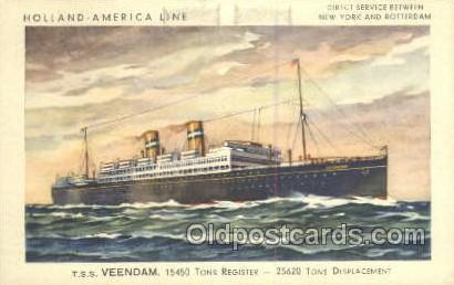 TSS Veendam Holland - America Line, Steamer, Steam Boat, Ship Ships, Postcard...