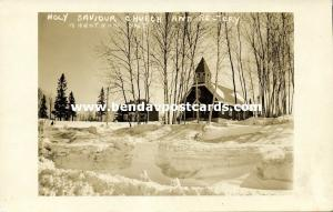 canada, MARATHON, Ontario, Holy Saviour Church and Rectory (1930s) RPPC