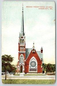 Kansas City Missouri~Second Presbyterian Church~Tall Steeple~Front View~c1910