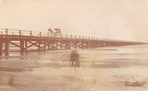 Lexington NE Horse & Buggy on Wood Beam Deck Platte River Bridge RPPC c1913