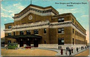 Seattle, WA Postcard New Oregon and Washington Depot Railroad Depot c1910s