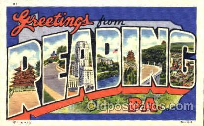 Greetings From Reading, PA, USA Large Letter Town Unused