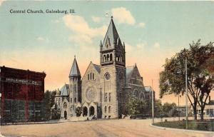 Galesburg Illinois~Central Church~People's Restaurant~Implement Co~c1910 Pc