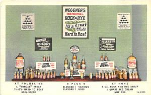 Wegner's Rock & Rye Syrup Ice Cream Fountain Linen Postcard