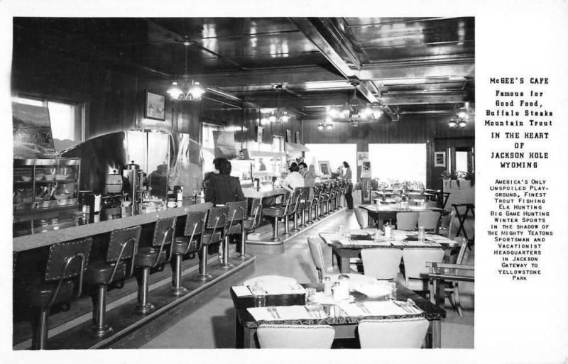 Jackson Hole Wyoming McGees Cafe Real Photo Antique Postcard K104162